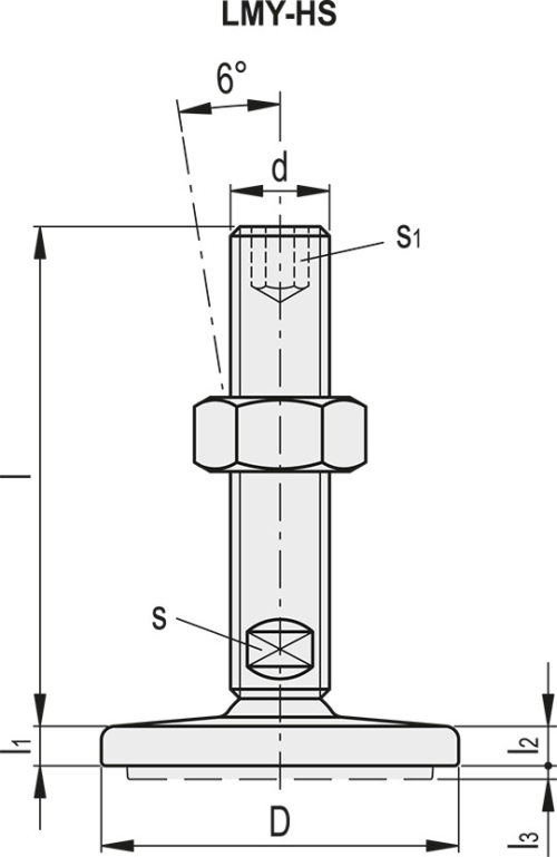LMY.80-SST-M16x75-HS Dimensioned drawing 2D