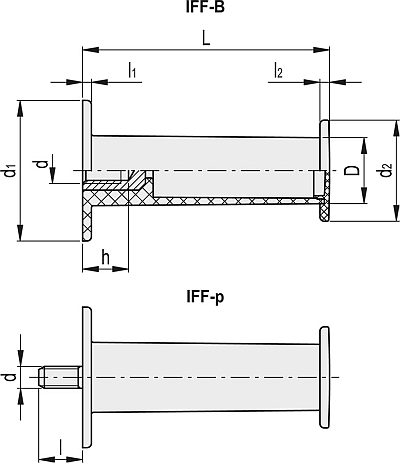 IFF.112 B-M8 Dimensioned drawing 2D