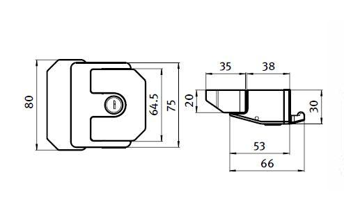 Slam Latch, Die-cast Zinc Parameter drawing 2D