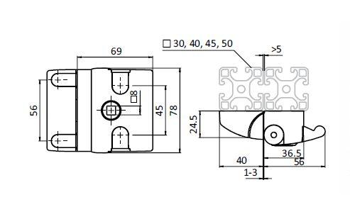 Slam Latch Compact, Die-cast Aluminum Parameter drawing 2D