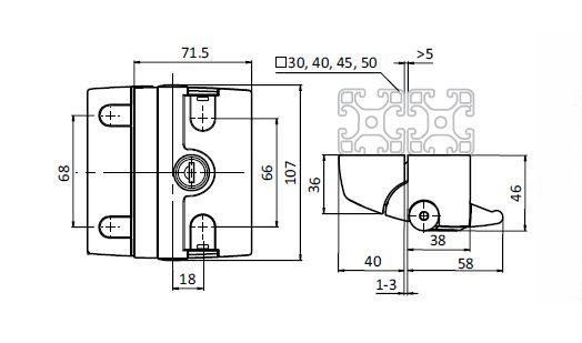 Slam Latch PRO, Die-cast Aluminum Parameter drawing 2D
