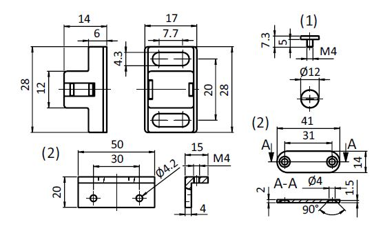 Magnetic Catch 20 Nylon PA Parameter drawing 2D