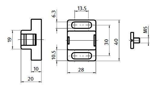 Magnetic Catch Nylon PA Parameter drawing 2D