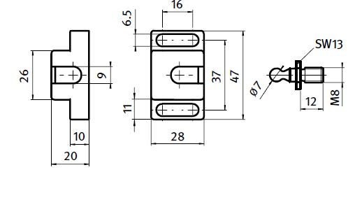 Ball Catch Nylon PA Parameter drawing 2D