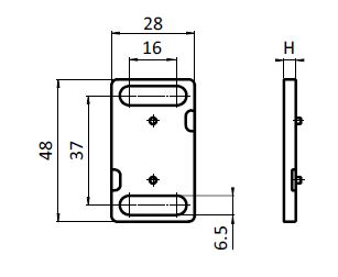 Spacer for Ball Catch Nylon PA Parameter drawing 2D