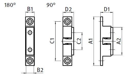 Double Ball Catch MS Brass Parameter drawing 2D