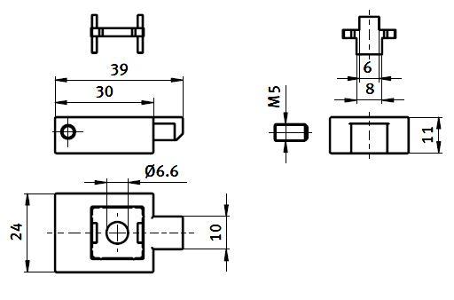 Hanger 6-8 Die-cast Zinc Parameter drawing 2D
