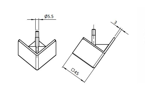 Cover Cap for 3-way Connection Angle 45 Nylon PA, Profile 45, Angular Parameter drawing 2D