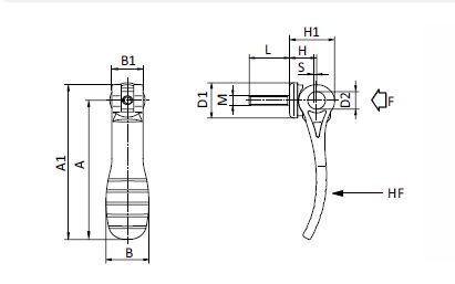 Cam Lever with Plastic Handle parameter drawing 2D
