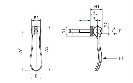Cam Lever with Cast Aluminum Handle parameter drawing 2D
