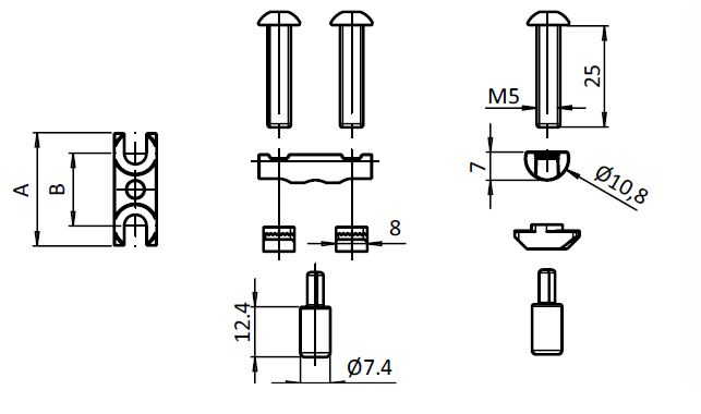 Bolt Connector Slot 8 Parameter drawing 2D