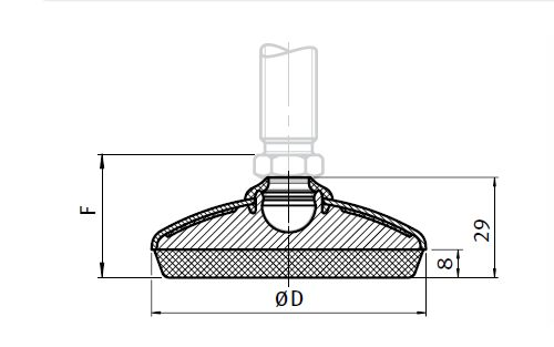 Base for Sealed Leveling, Ball Joint 15 Parameter drawing 2D