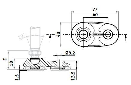 Extended Base 40 for Swivel Feet, Ball Joint 15, Nylon PA Parameter drawing 2D