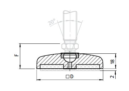 Square Base for Swivel Feet, Ball Joint 15, Die-cast Zink Parameter drawing 2D