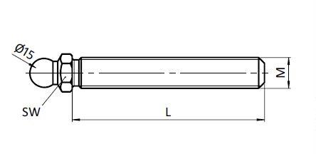 Threaded Rod for Swivel Feet, Ball Joint 15, Steel/Stainless Steel Parameter drawing 2D