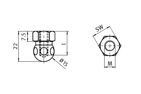Ball Joint with Female Thread, Ball Joint 15 for Swivel Feet, Steel/Stainless Steel Parameter drawing 2D