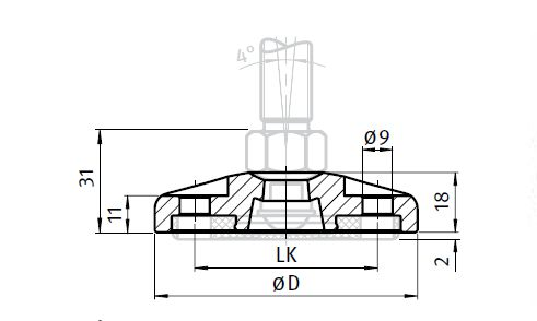 Base for Pivot Feet, Stainless Steel, with Bolt-down Hole Parameter drawing 2D