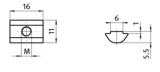 Roll-in T-slot Nut 11.0 x 5.5 mm Slot 6, Self-aligning, Steel Parameter drawing 2D