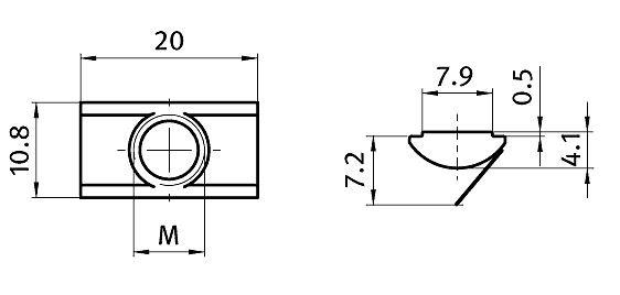 Roll-in T-slot Nut 10.8 x 4.1 mm Slot 8, Self-aligning with Spring Leaf, Steel / Stainless Steel Parameter drawing 2D