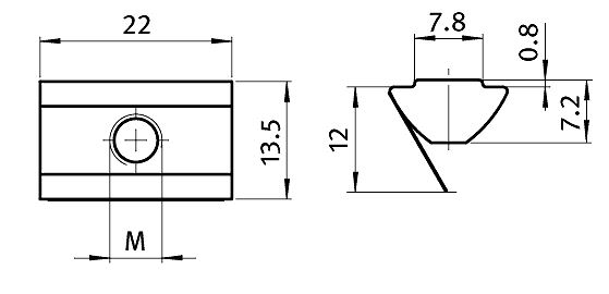 Roll-in T-slot Nut 13.5 x 7.2 mm Slot 8, Self-aligning with Spring Leaf, Steel    Parameter drawing 2D