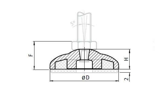 Base for ECO Feet, Die-cast Zinc Parameter drawing 2D
