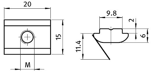 Roll-in T-slot Nut 15.0 x 6.0 mm Slot 10, Self-aligning with Spring Leaf, Steel Parameter drawing 2D