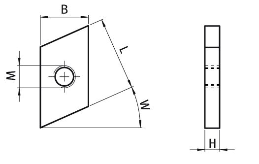 Threaded Plate Rhombus Customized Dimensions Parameter drawing 2D