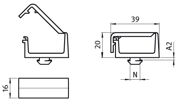 Clip Cable Binder with Hammer 1 Chamber Parameter drawing 2D