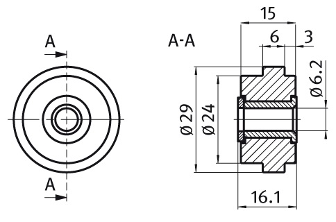 Roller ø29 Nylon PA, Slot 6 Parameter drawing 2D
