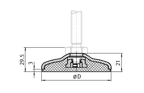 Base for Compact Feet, Stainless Steel Parameter drawing 2D