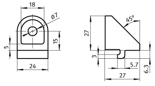 Adjustable Angle Clamp 30 Die-Cast Zinc Parameter drawing 2D