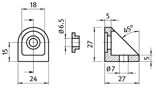 Adjustable Angle 30 Die-Cast Zinc Parameter drawing 2D