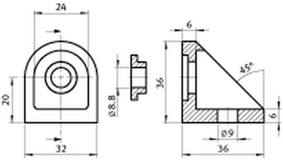 Adjustable Angle 40 Die-Cast Zinc Parameter drawing 2D