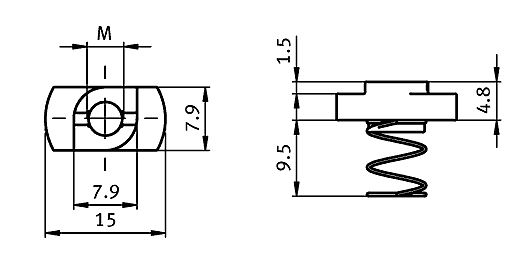 Spring Nut Slot 8, Steel Parameter drawing 2D