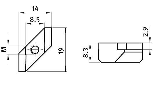 Rhombus Nut Slot 8, Die-cast-Zinc Parameter drawing 2D