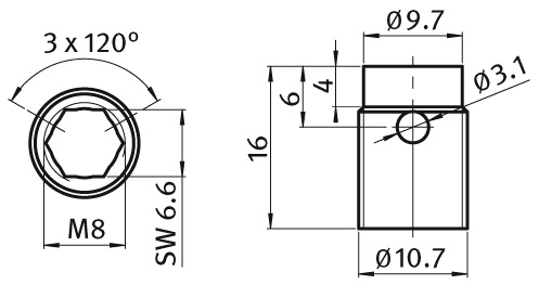 Cutting Bush Zinc-plated steel Parameter drawing 2D