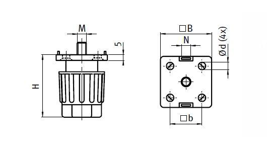 Adjustable Leveling Foot, Nylon PA Parameter drawing 2D