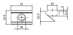 Roll-in T-slot Nut 14.5 x 10.9 mm Slot 10, Self-aligning with Spring Leaf Parameter drawing 2D