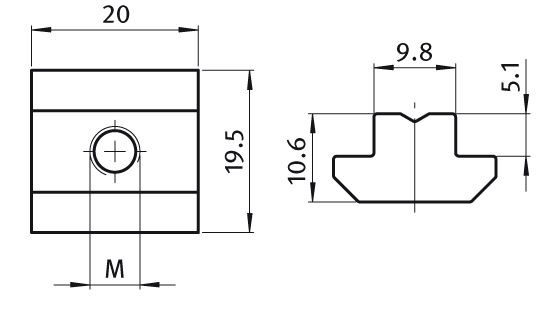 T-slot Nut 19.5 x 10.6 mm Slot 10, Self-aligning, Steel Parameter drawing 2D