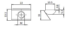 Roll-in T-slot Nut 13.1 x 5.3 mm Slot 11, Self-aligning with Spring Leaf, Steel Parameter drawing 2D