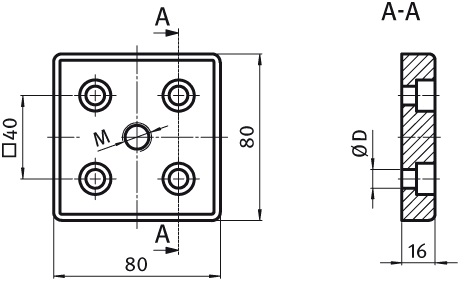 Transport and Base Plate 80 x 80 Die-cast Aluminum Parameter drawing 2D