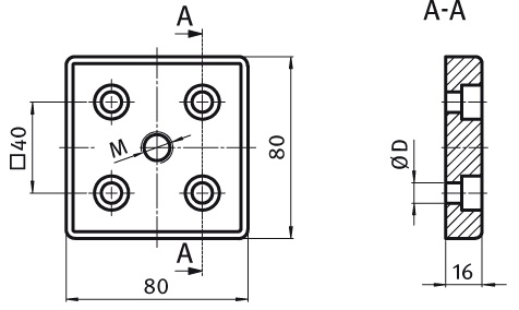 Transport and Base Plate 80 x 80 Die-cast Zinc Parameter drawing 2D