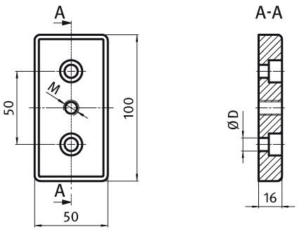 Transport and Base Plate 50 x 100 Die-cast Zinc Parameter drawing 2D