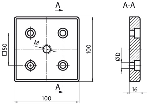 Transport and Base Plate 100 x 100 Die-cast Zinc Parameter drawing 2D