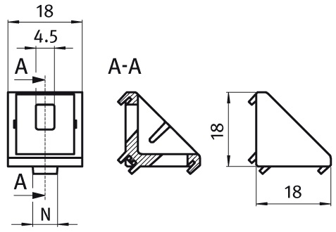 Alu Connection Angle 20 Die-cast Aluminum, Profile 20 and up Parameter drawing 2D