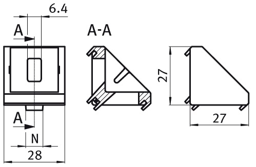 Alu Connection Angle 30 Die-cast Aluminum, Profile 30 and up Parameter drawing 2D