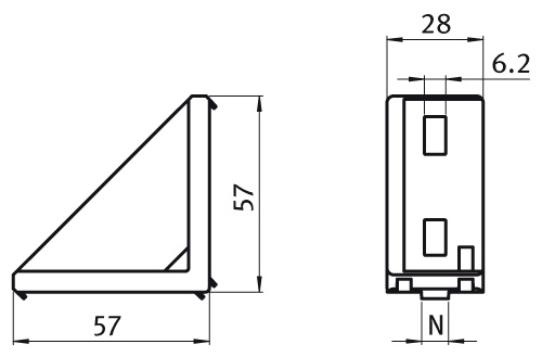Alu Connection Angle 30/60 Die-cast Aluminum, Profile 30 and up Parameter drawing 2D