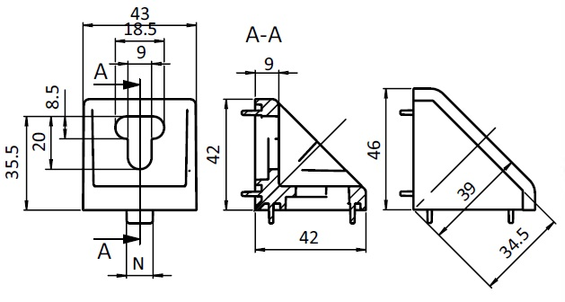 Alu Connection Angle 43 x 42 Die-cast Aluminum, Profile 45 and up Parameter drawing 2D