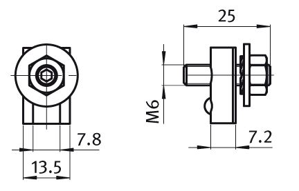 Grounding Terminal Slot 8, Zinc Plated Steel / Brass  	 	 	 				 	 	  Parameter drawing 2D