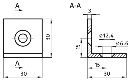 Steel Connection Angle 30 Steel, Profile 30 and up Parameter drawing 2D